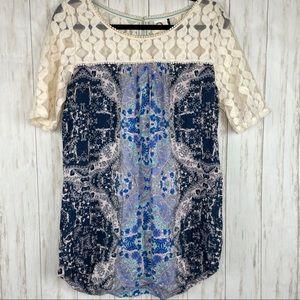 Anthropologie Akemi & Kin crochet blue top